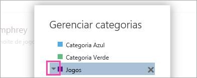 Uma captura de tela da seta ao lado de uma categoria