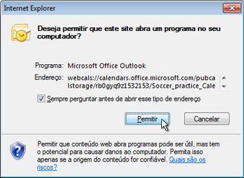 Caixa de diálogo Permitir que um site abra um programa