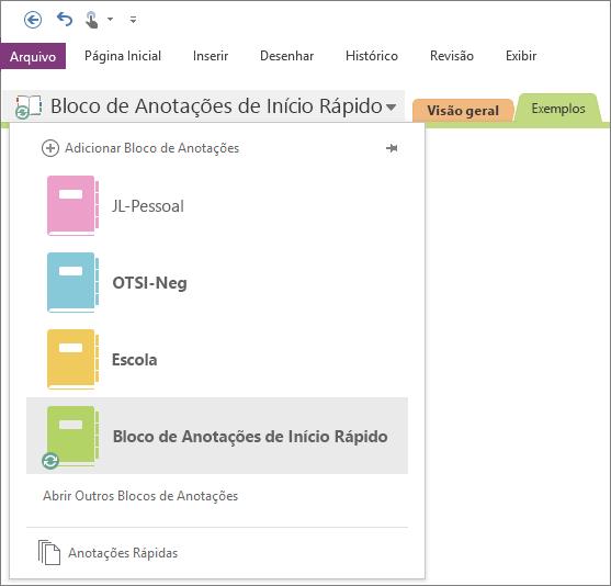 Captura de tela da lista de blocos de anotações aberta.