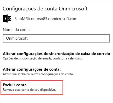 Excluir contas no aplicativo de Email