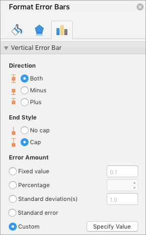 Mostra o painel de formatar barras de erros com personalizado selecionado para o valor de erro