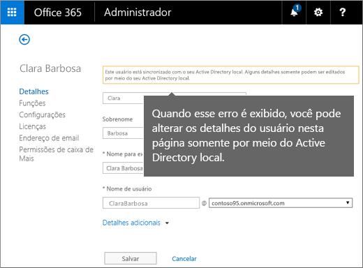 Erro quando os detalhes do usuário podem ser organizados apenas no Microsoft Active Directory