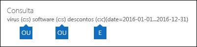 Exemplo de consulta que é criada usando a lista de palavras-chave e uma condição