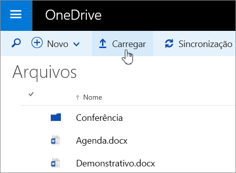Captura de tela do botão Carregar no OneDrive for Business no Office 365