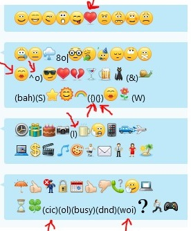 A snapshot for emoticons that are received in Skype for Business before you apply this update