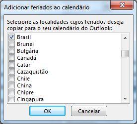 Caixa de diálogo para seleção de feriados de países/regiões