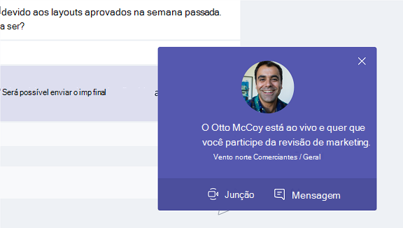 Esta captura de tela mostra como participar de uma reunião a partir de uma mensagem de pop-up.
