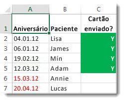 Exemplo de formatação condicional no Excel