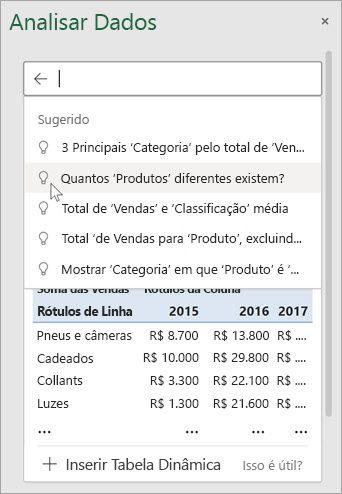 O Ideias no Excel fornecerão perguntas sugeridas com base na análise dos seus dados.