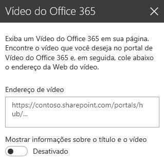 Captura de tela da caixa de diálogo de endereço de vídeo do Office 365 no SharePoint.