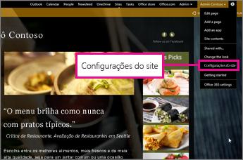 No Construtor de Site do GoDaddy, escolha Configurações de site