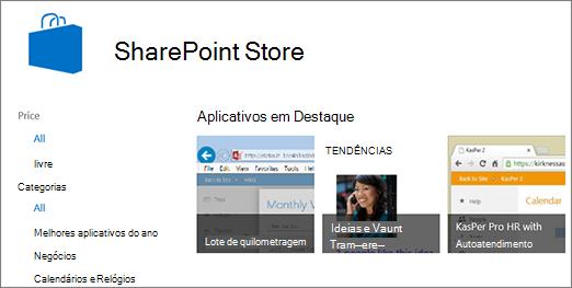 Modo de exibição da seleção de aplicativo do repositório do SharePoint