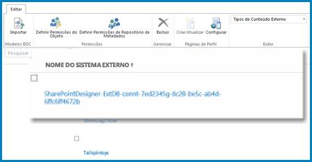 Captura de tela da faixa de opções na exibição Sistemas Externos do BCS do SPO.