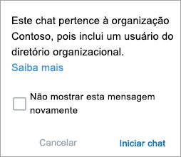 Captura de tela mostrando a notificação de que o chat é um chat da organização