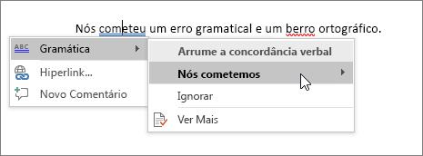 Exemplo de Ortografia e Gramática do Office 365