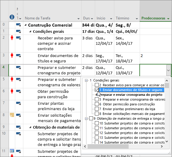 Captura de tela do menu suspenso da coluna predecessora no Project
