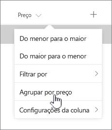 Opção de GroupBy no menu de cabeçalho de coluna