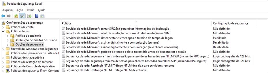Janela política de segurança local, com opções de segurança mostrando configurações corrigidas do OneDrive