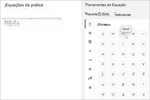 Selecione símbolos e, em seguida, selecione uma categoria para procurar os símbolos matemáticos disponíveis.