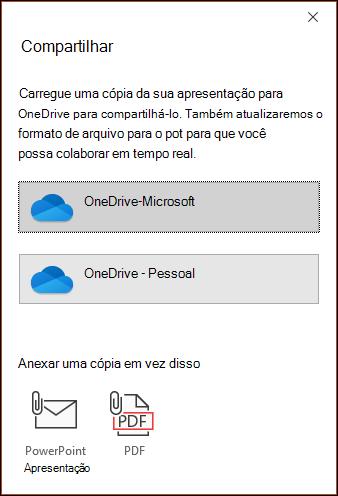 A caixa de diálogo compartilhar no PowerPoint Offering para carregar seu arquivo para o Microsoft Cloud para que você possa compartilhá-lo perfeitamente.