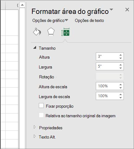 Você pode ajustar o tamanho do gráfico na caixa de diálogo Formatar área do gráfico