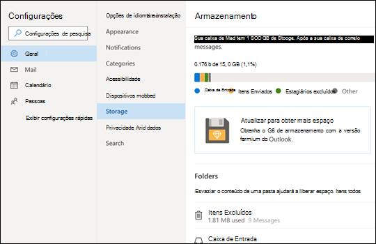 Menu armazenamento para Outlook.com.