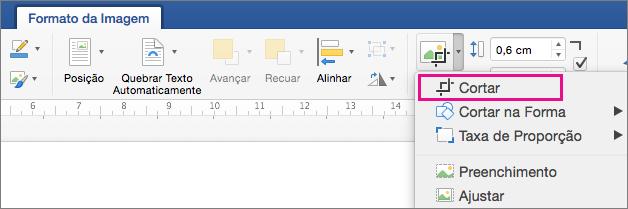 Na guia Formato da Imagem, a opção Cortar está realçada.