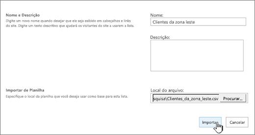 Caixa de diálogo Novo aplicativo com nome e local do arquivo preenchidos, importar realçado