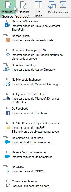 Power Query obter dados de caixa de diálogo de outras fontes