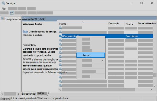 Reinicie os serviços de áudio: áudio do Windows, Construtor de ponto de extremidade do Windows e chamada de procedimento remoto (RPC)