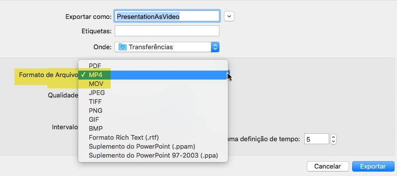 Os assinantes do Office 365 podem exportar uma apresentação para vídeo como um arquivo MP4 ou MOV