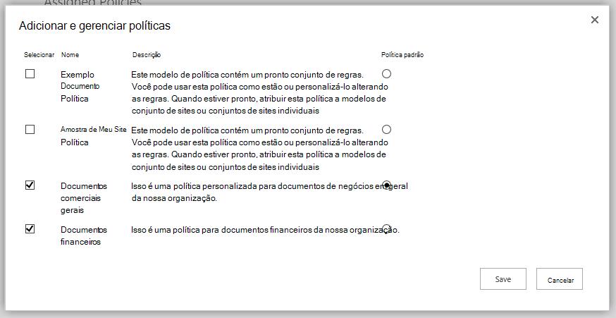 Adicionar e gerenciar políticas de página