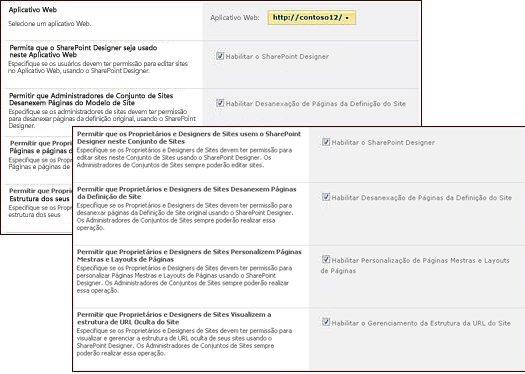Páginas de definições do SharePoint Designer