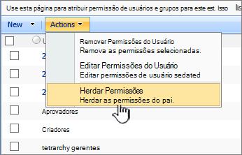 Herdar a opção de permissões no menu de ação