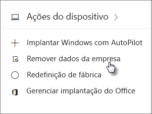 No cartão Dispositivos, escolha Remover dados da empresa