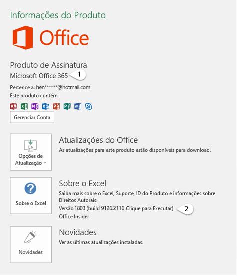 Página de conta que inclui informações de Usuário e Produto