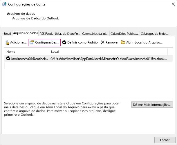 Em configurações de conta, para uma conta do Exchange, alterar as configurações de arquivo de dados