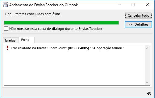 Erro ao se conectar a uma Biblioteca de Documentos do SharePoint