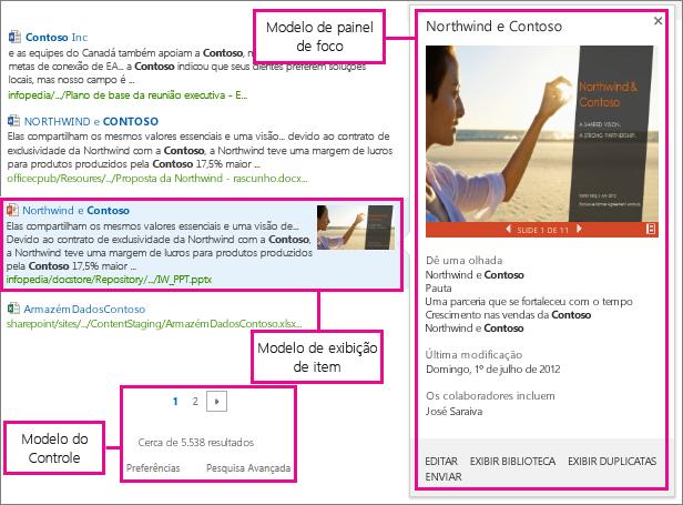 Tipos de modelo de exibição para resultados de pesquisa