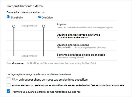 Configurações na página de compartilhamento do Centro de administração do OneDrive de compartilhamento externo