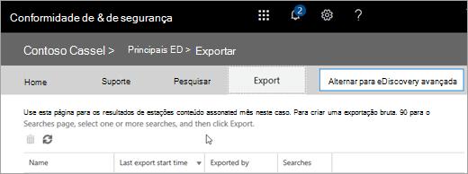 Clique em Exportar para exibir uma lista de trabalhos de exportação