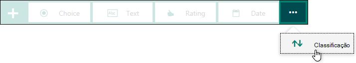 Tipo de pergunta classificação exibido para um formulário.