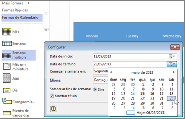 Criar um calendário no Visio