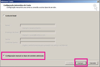 Usar a configuração manual no Outlook 2013