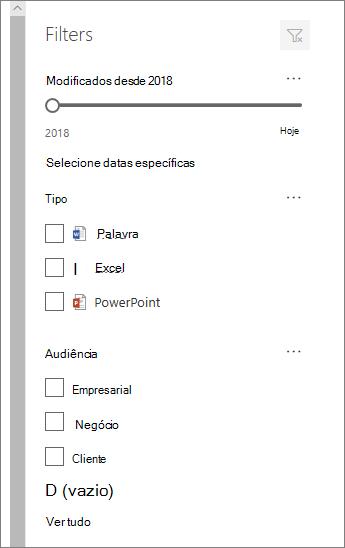 Painel de filtro de documento