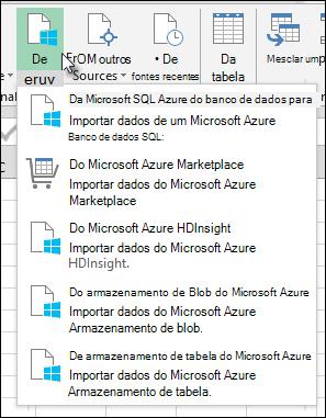 Caixa de diálogo importação do Power Query do Azure