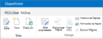 Faixa de opções do SharePoint 2013 no canto superior esquerdo da tela