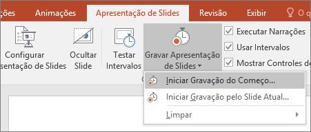 Mostra o botão Gravar Apresentação de Slides no PowerPoint