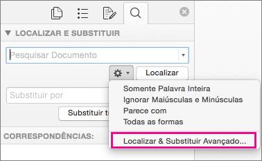 Na caixa Localizar e Substituir, Localização Avançada e Substituir é realçado