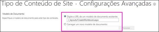 Adicionar caixas de texto do modelo na página Configurações Avançadas para um tipo de conteúdo